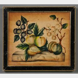 American School, 19th Century      Theorem of Fruit on a Marble Plinth.