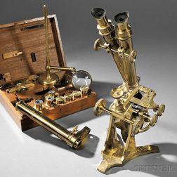 Newton & Co. Lacquered Brass Monocular/Binocular Compound Microscope