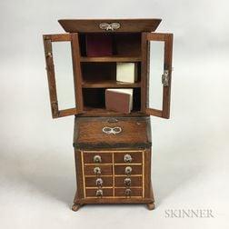 Miniature Brass-decorated Walnut Chippendale-style Secretary