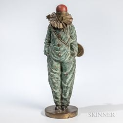 Cold-painted Bronze Figure of Pierrot