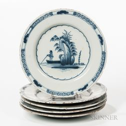 Five Matching Tin-glazed Earthenware Plates