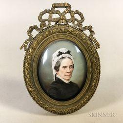 Framed Enamel Portrait Miniature of a Woman