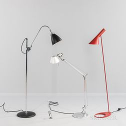 """Three Floor Lamps Including an Arne Jacobsen """"AJ"""" for Louis Poulsen and an Artemide """"Tolomeo,"""""""
