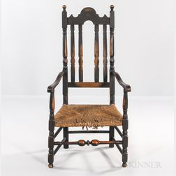 Black-painted Bannister-back Rush-seat Armchair
