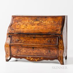 Dutch Walnut, Burlwood-veneered, and Marquetry Miniature Bombay Fall-front Desk