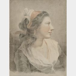 School of François André Vincent (French, 1746-1816)      Portrait Head of a Woman in Profile