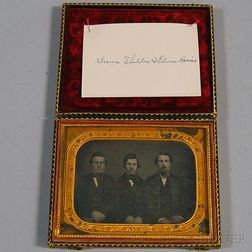 Quarter-plate Daguerreotype Portrait of the Three Harris Brothers of Nelson, New   Hampshire