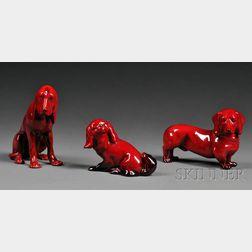Three Royal Doulton Flambe Dogs