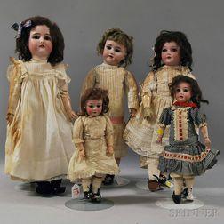 Five German Bisque Head Dolls