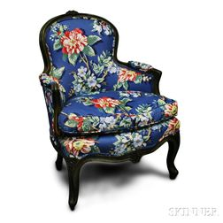 Provincial Louis XV-style Upholstered Green-painted Bergere