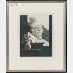 Robert Kipniss (American, b. 1931)      Window with Yellow Tree