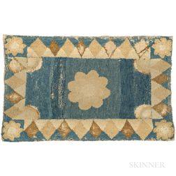 Yarn Sewn Blue and Beige Rug