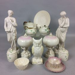 Fourteen Pieces of Beleek Porcelain Tableware