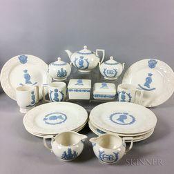 Nineteen Wedgwood Embossed Queens Ware Royal Commemorative Tableware Items.     Estimate $400-600