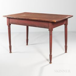 Red-painted Turned-leg Table