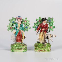 Two Staffordshire Bocage Sportsmen Figures