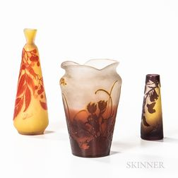 Three Gallé Cameo Art Glass Cabinet Vases