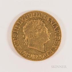 1820 British George III Gold Sovereign