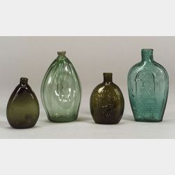 Four Colored Blown Molded Glass Flasks