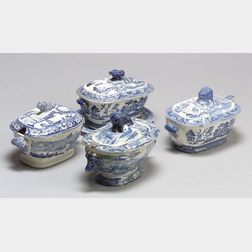 Four Staffordshire Blue and White Transfer Print Decorated Sauce Tureens