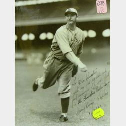 Two Signed Black and White Photographs of Baseball Players