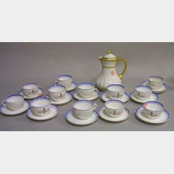 Set of Twelve Limoges Washington Coats-of-Arms Decorated Porcelain Tea Cups and Thirteen Saucers and a Limoges Gilt Porcelain Chocolate