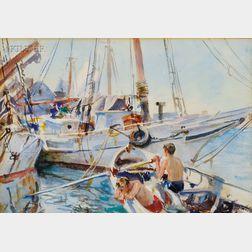 John Whorf (American, 1903-1959)      White Boats in the Sun, Boys Fishing No 15