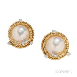 "18kt Gold and Mabe Pearl ""Rope"" Earclips, Schlumberger forTiffany & Co."