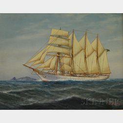 Luca Papaluca (Italian, 1890-1934)      A Brazilian Ship at Sea.
