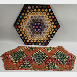 Hexagonal Wool and Cotton Penny Rug, Three Hooked Rugs, and a Wool and Felt   Penny Rug