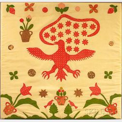 Appliqued Cotton Patriotic Eagle Crib Quilt