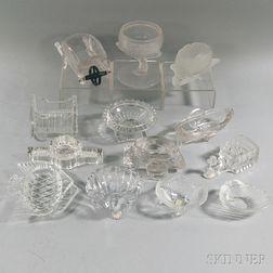 Thirteen Novelty Colorless Glass Salts