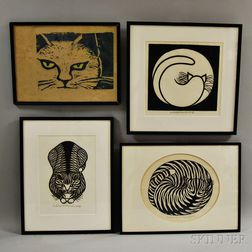 Four Framed Woodcut Prints of Cats