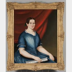 American School, 19th Century    Portrait of Georgiana Brackett of Newton, Massachusetts, in a Blue Dress
