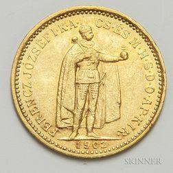 1902 Hungarian 10 Korona Gold Coin