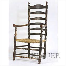 Black-Painted Ash Slat-back Armchair,
