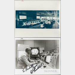 Apollo 15, Mission Control, Two Photographs, Including a Signed Photograph of Edward Fendell.