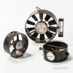Three Anodized Brass Anemometers