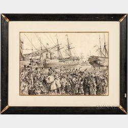 Johann Nepomuk Schönberg (Austrian, b. 1844)    British Troop Ships at Alexandria