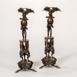 Pair of Grand Tour Patinated Bronze Table Ornaments