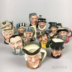 Twelve Small Royal Doulton Ceramic Face Jugs