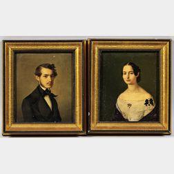 European School, 19th Century      Pendant Portraits of a Gentleman and Lady