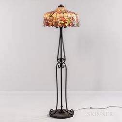 Floor Lamp with Leaded Glass Shade on Wrought Iron Base