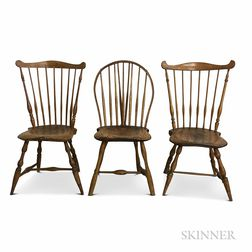 Braced Bow-back and Two Fan-back Windsor Chairs