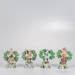 Four Staffordshire Bocage Musician Figures
