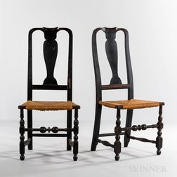Pair of Black-painted Vase-back Side Chairs