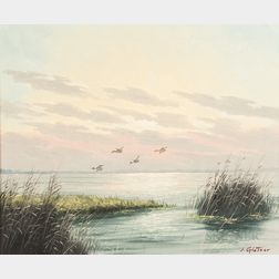 Joseph (Johann) Glotzer (American, 1925-2007)      Ducks Over the Marsh.