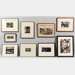 Nine Framed Prints:      Oscar Weissbuch (American, 1904-1948), Fields in Spring
