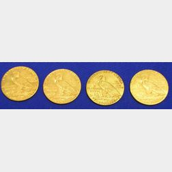 1910, 1911, 1912, and 1913 Indian Half Eagle Five Dollar Gold Coins.