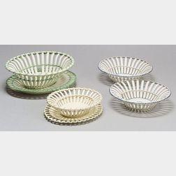 "Four English Pottery ""Strip"" Baskets"
